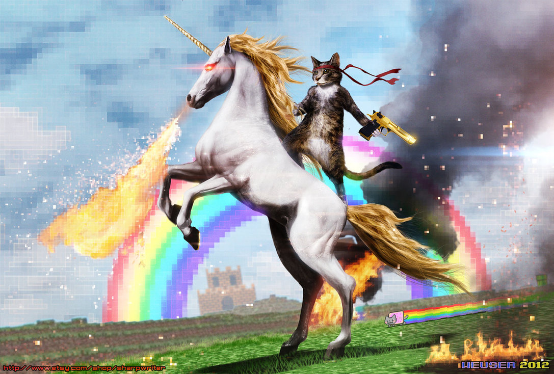 Nevermind: follow the cat on the white unicorn!!!
